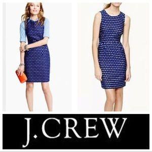 J Crew Blue Sparkle Dot Sheath sz 6 *RUNWAY WORTHY